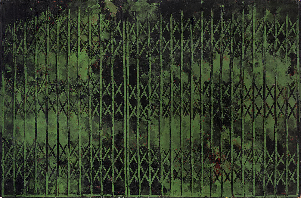 "Martin Wong – ""Untitled (green storefront)"", 1985 acrylic on canvas 203.2 x 304.8 cm"