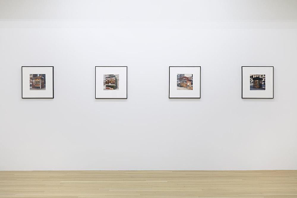 "Moyra Davey – ""Newsstand No. 21, 14, 9, 12"", 1994 c-print each framed: 51 x 51 cm installation view Galerie Buchholz, New York 2018"