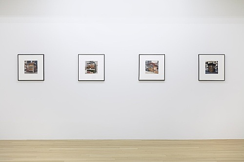 "Moyra Davey – ""Newsstand No. 21, 14, 9, 12"", 1994 c-print each framed: 51 x 51 cm installation view Galerie Buchholz, New York 2018"