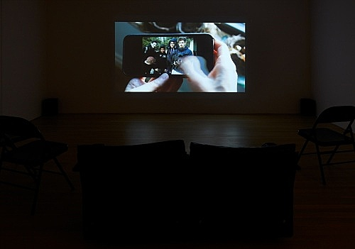 "Moyra Davey – ""Wedding Loop"", 2017 HDV, sound, 22' 51"" installation view Galerie Buchholz, New York 2018"
