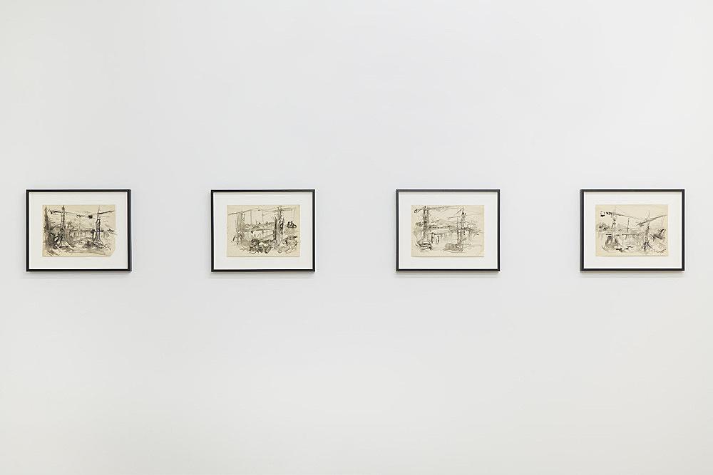 Jochen Klein – Untitled, n.d. ink on paper each 21 x 29.7 cm installation view Galerie Buchholz, New York 2018