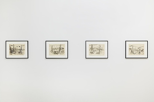 Jochen Klein – Untitled, n.d. ink on paper each 21 x 29.7 cm installation view Galerie Buchholz, New York 2018