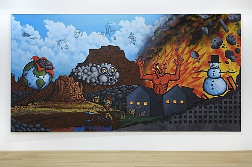 "David Wojnarowicz – ""Earth, Wind, Fire, and Water"", 1986 acrylic, spray, collage on canvas 200 x 400 cm installation view Galerie Buchholz, New York 2018"