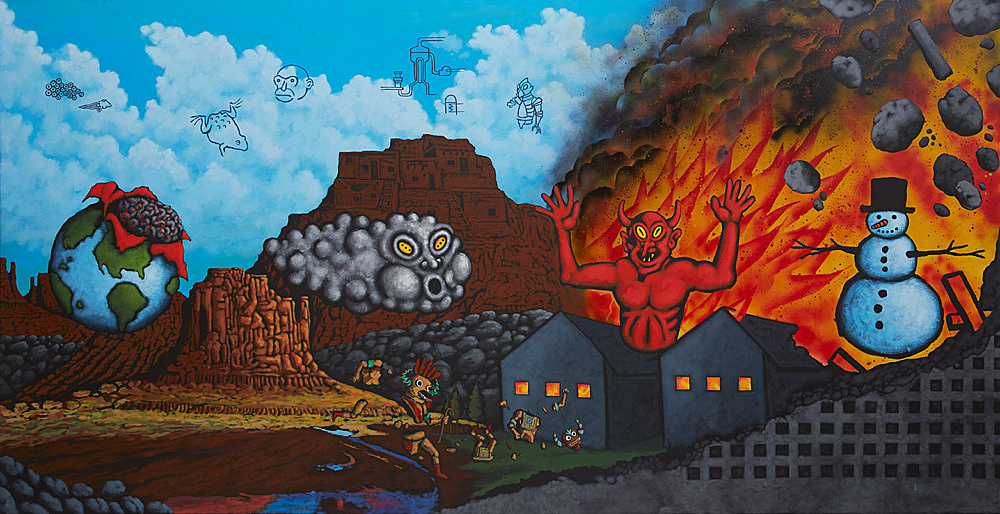 "David Wojnarowicz – ""Earth, Wind, Fire, and Water"", 1986 acrylic, spray, collage on canvas 200 x 400 cm"
