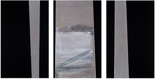 "R.H. Quaytman – ""An Evening, Chapter 32"", 2017 lacquer, oil, silkscreen ink, gesso on wood 94 x 152.5 x 3.2 cm & ""An Evening, Chapter 32"", 2017 lacquer, oil, iron powder, silkscreen ink, gesso on wood 94 x 152.5 x 3.2 cm & ""An Evening, Chapter 32"", 2017 lacquer, oil, silkscreen ink, gesso on wood 94 x 152.5 x 3.2 cm"