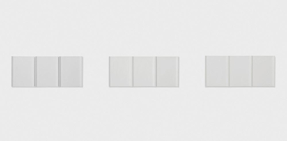 """Florian Pumhösl – """"5-teilige Plastik"""", 2018 plaster 5 parts in 3 units, 36 x 85 x 5 cm, 36 x 84 x 5 cm, 36 x 82 x 5 cm"""