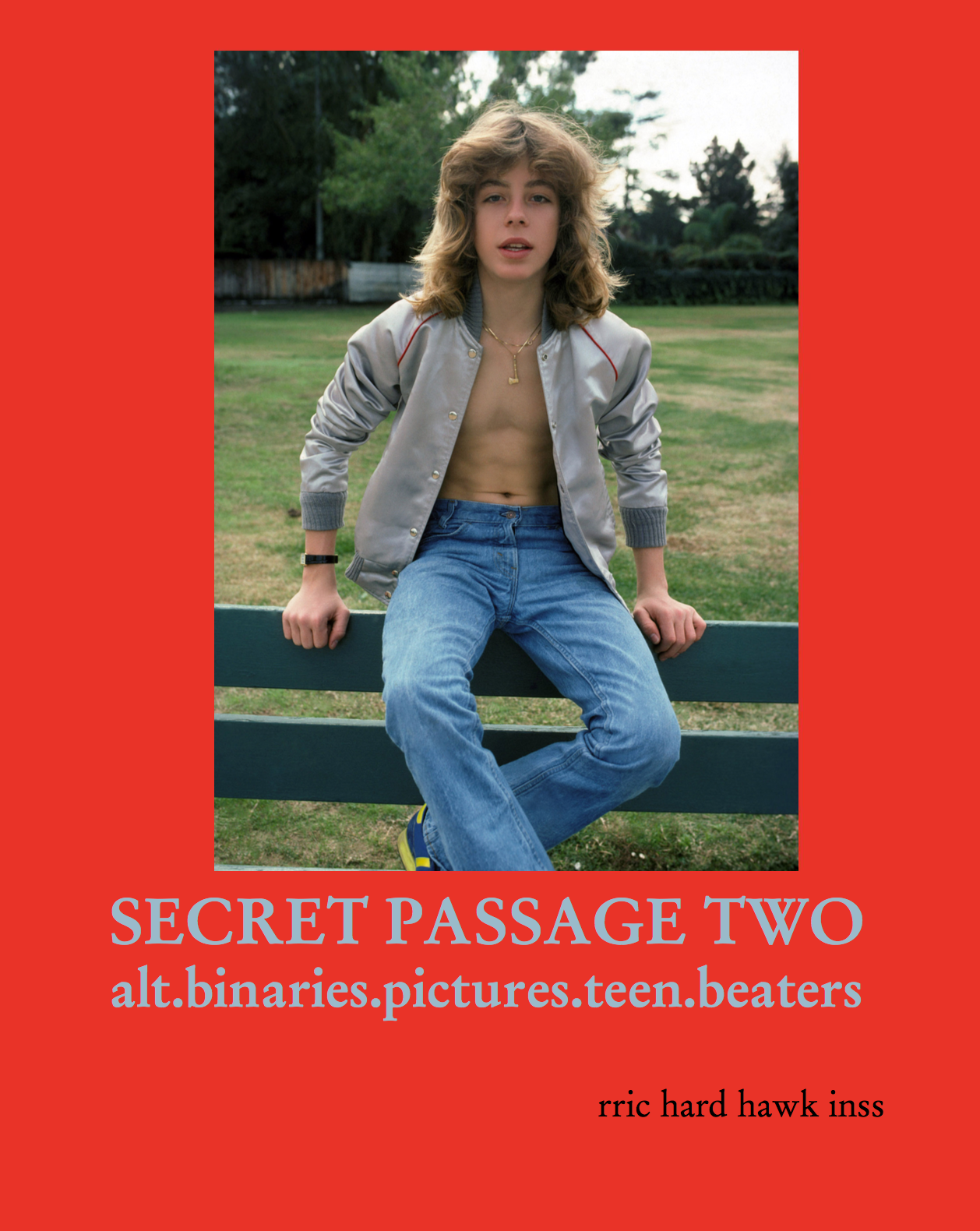 Richard Hawkins – SECRET PASSAGE #TWO: alt.binaries.pictures.teen.beaters 2018, 22 pages, Owrps, fully illustrated in color, 24,8 x 19,6 cm Euro 20,- – SECRET PASSAGE #2 an assembly of found images d'loaded from alt.binaries.pictures. teenidols in 1998 & which incorporate all the artist's dreamy teenage pleasure, cringing inevitabilities & fore-doomed eventualities circa 1979. published '18 rric hard hawk inss & Galerie Buchholz