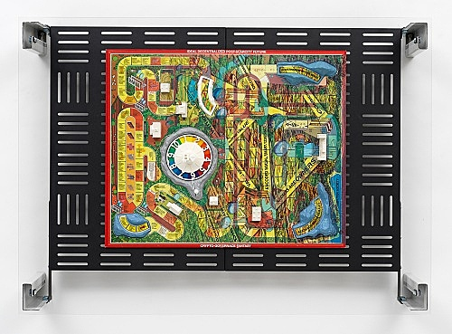"Simon Denny – ""Crypto Futures Game of Life Board Overprint Collage: 1976 Vintage"", 2018 digital print on Milton Bradley's Game of Life 1976 vintage board, powder-coated server rack shelving, laser cut Plexiglas, various server rack hardware components 72 x 100 x 23 cm"