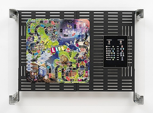 "Simon Denny – ""Crypto Futures Game of Life Board Overprint Collage: zAPPed"", 2018 digital print on Hasbro Game of Life zAPPed Edition board, UV print I Apple iPad, powder-coated server rack shelving, laser cut Plexiglas, various server rack hardware components 72 x 100 x 23 cm"