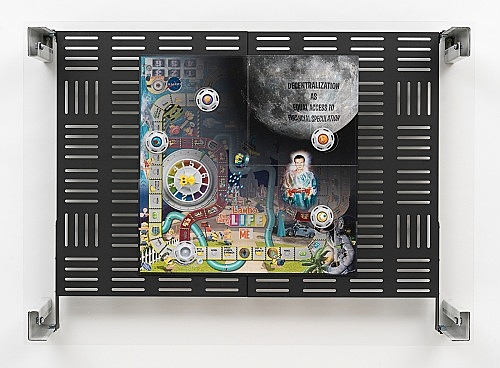 "Simon Denny – ""Crypto Futures Game of Life Overprint Collage: Despicable Me"", 2018 digital print on Hasbro Game of Life Despicable Me board, powder-coated server rack shelving, laser cut Plexiglas, various server rack hardware components 72 x 100 x 23 cm"