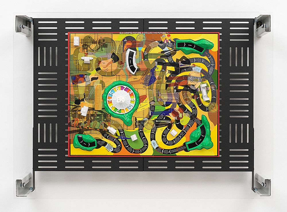 "Simon Denny – ""Crypto Futures Game of Life Board Overprint Collage: 1960"", 2018 digital print on Milton Bradley's Game of Life 1960 Edition board, powder-coated server rack shelving, laser cut Plexiglas, various server rack hardware components 72 x 100 x 23 cm"