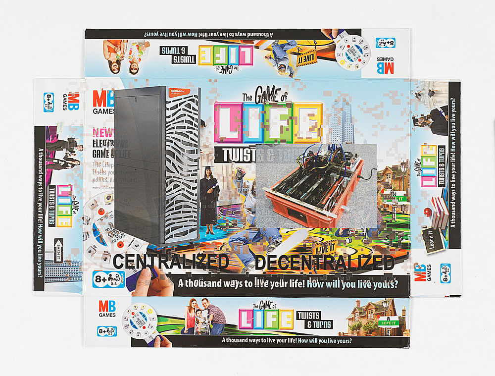 """Simon Denny – """"Centralized vs Decentralized Conway's Game of Life Box Lid Overprint: Twists & Turns"""", 2018 UV print on Twists & Turns Game of Life box lid 39.5 x 53 cm"""