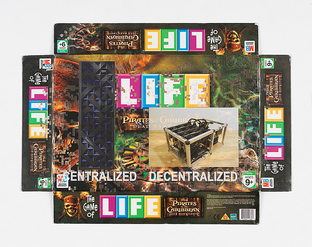 """Simon Denny – """"Centralized vs Decentralized Conway's Game of Life Box Lid Overprint: Pirates of the Caribbean Dead Man's Chest"""", 2018 UV print on on Game of Life: Pirates of the Caribbean Dead Man's Chest box lid 39.5 x 53 cm"""
