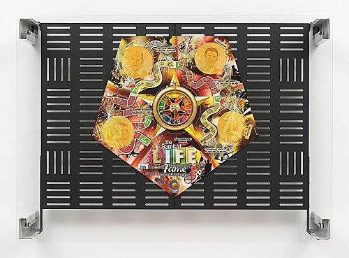 "Simon Denny – ""Crypto Futures Game of Life Overprint Collage: Fame"", 2018 digital print on Hasbro Game of Life Fame Edition board, powder-coated server rack shelving, laser cut Plexiglas, various server rack hardware components 72 x 100 x 23 cm"