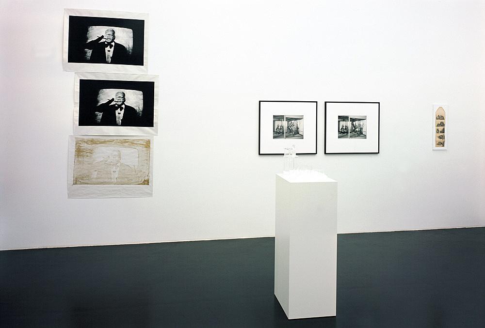 Michael Fullerton, Mathias Poledna, Christopher Williams, Richard Hawkins – installation view Galerie Daniel Buchholz, Köln 2004