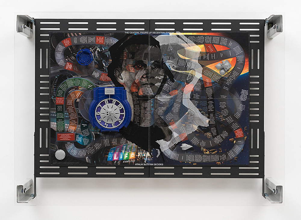 "Simon Denny – ""Crypto Futures Game of Life Overprint Collage: A Jedi's Path"", 2018 digital print on Milton Bradley's Game of Life A Jedi's Path board, powder-coated server rack shelving, laser cut Plexiglas, various server rack hardware components 72 x 100 x 23 cm"