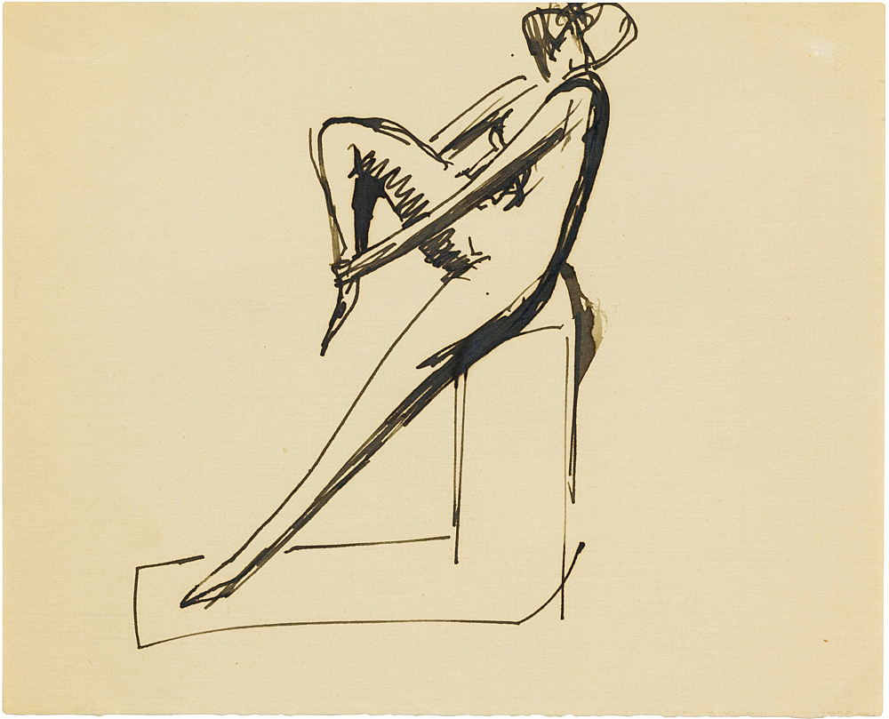 """Elie Nadelman – """"Untitled (seated woman)"""", n.d. graphite on paper 13.97 x 16.51 cm"""