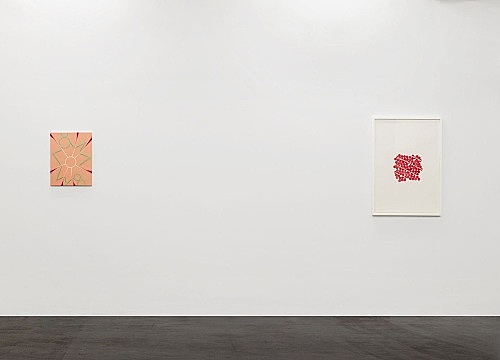 "Tomma Abts – ""Keke"", 2006 acrylic and oil on canvas 48 x 38 cm & Untitled #2, 2006 ball point pen and coloured pencil on paper 84,1 x 59,4 cm installation view Galerie Daniel Buchholz, Köln 2006"