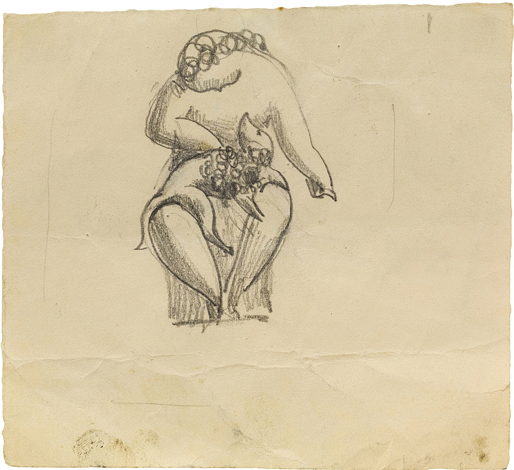 """Elie Nadelman – """"Untitled (seated woman with poodle on lap)"""", n.d. graphite on paper 11.4 x 12.7 cm"""
