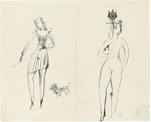 "Elie Nadelman – ""Untitled"", n.d. ink on paper (Savoy Hotel, NY stationery) 20 x 24.8 cm"
