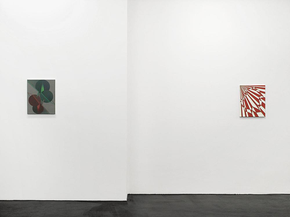 """Tomma Abts – """"Ewo"""", 2006 acrylic and oil on canvas 48 x 38 cm & """"Meko"""", 2006 acrylic and oil on canvas 48 x 38 cm installation view Galerie Daniel Buchholz, Köln 2006"""