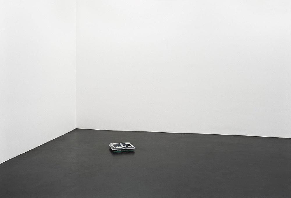 "Cerith Wyn Evans – ""Socle du Monde"", 2007 digital scale and vitamin pills 36 x 36 x 7 cm"