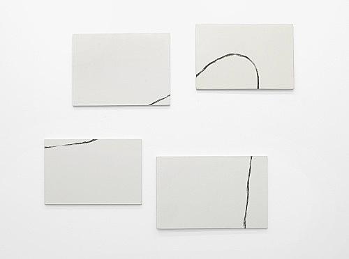 """Martin Barré – """"62-5"""", 1962 4 parts oil on canvas 60 x 81 cm / 54 x 81 cm 54 x 81 cm / 60 x 92 cm"""