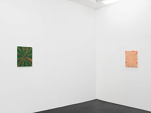 "Tomma Abts – ""Feye"", 2006 acrylic and oil on canvas 48 x 38 cm & ""Keke"", 2006 acrylic and oil on canvas 48 x 38 cm installation view Galerie Daniel Buchholz, Köln 2006"