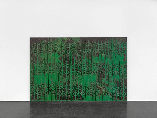 "Martin Wong – ""Untitled (green storefront)"", 1985 acrylic on canvas 199 x 307 x 4 cm installation view Galerie Buchholz, Köln 2018"