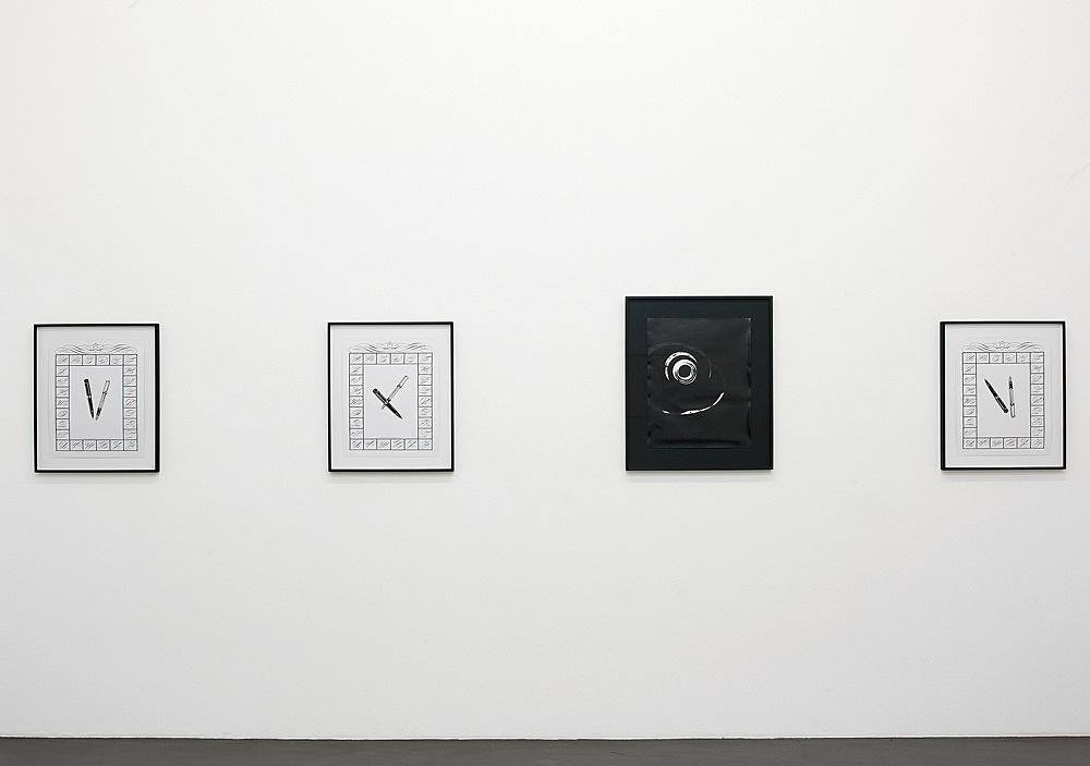 "Sam Lewitt – ""Monograms"", 2008 4 parts one unique photogram 50 x 40 cm three drawings ink, graphite, screenprint each 47 x 37 cm installation view Galerie Daniel Buchholz, Köln 2008"