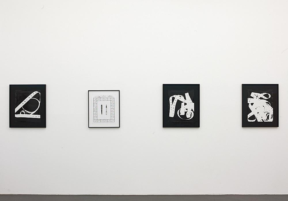 "Sam Lewitt – ""Monograms"", 2008 4 parts three unique photograms, each 50 x 40 cm ink, graphite, screenprint 47 x 37 cm installation view Galerie Daniel Buchholz, Köln 2008"