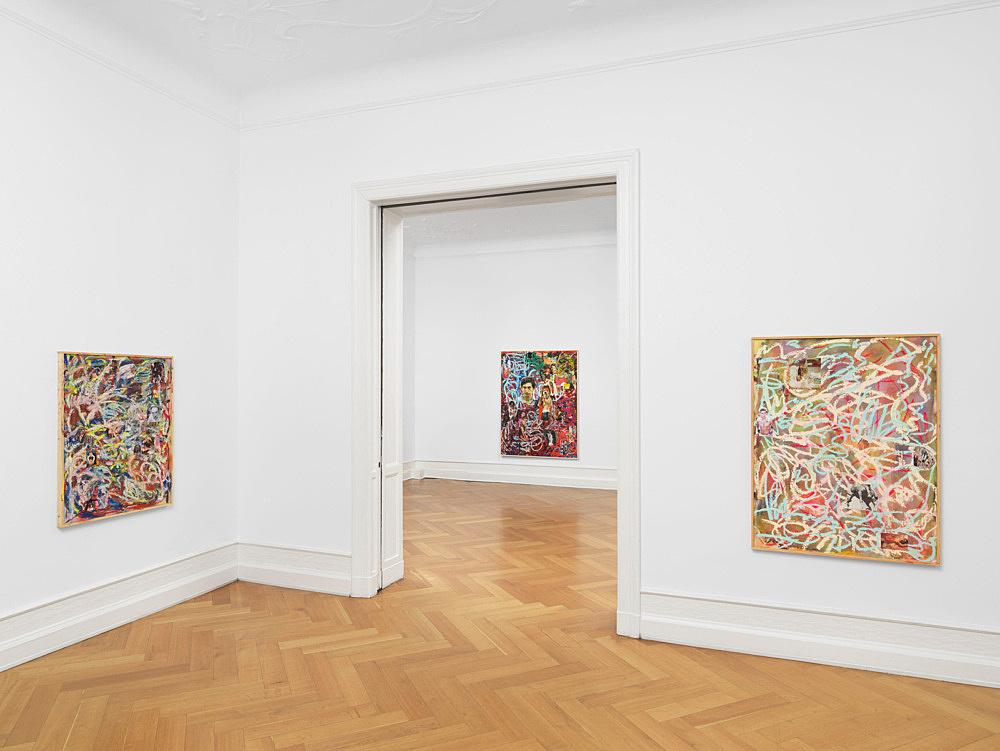 """Richard Hawkins – """"Collage Paintings, Gesture Paintings"""" installation view Galerie Buchholz, Berlin 2018"""