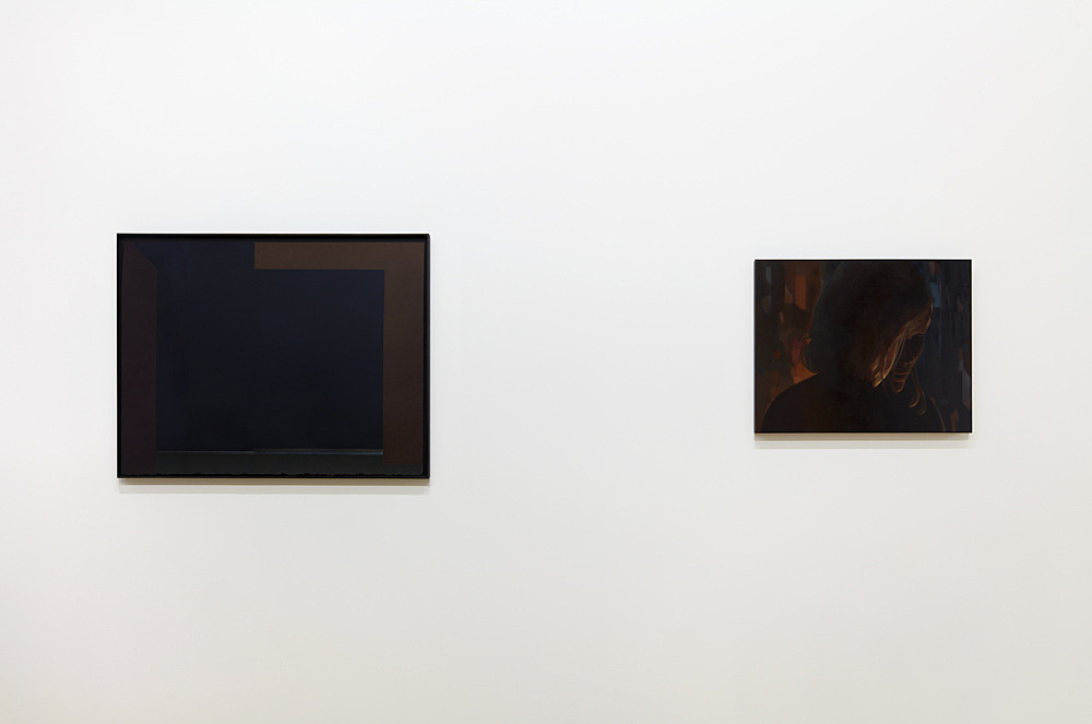 "Monica Majoli – ""Black Mirror (Amy)"", 2011–2012 diptych, one oil painting and one lithograph painting: 40.5 x 51 cm (framed: 40.5 x 51 x 4 cm) lithograph: 56 x 79 cm (framed: 59 x 79 x 4 cm) installation view Galerie Buchholz, New York 2018"
