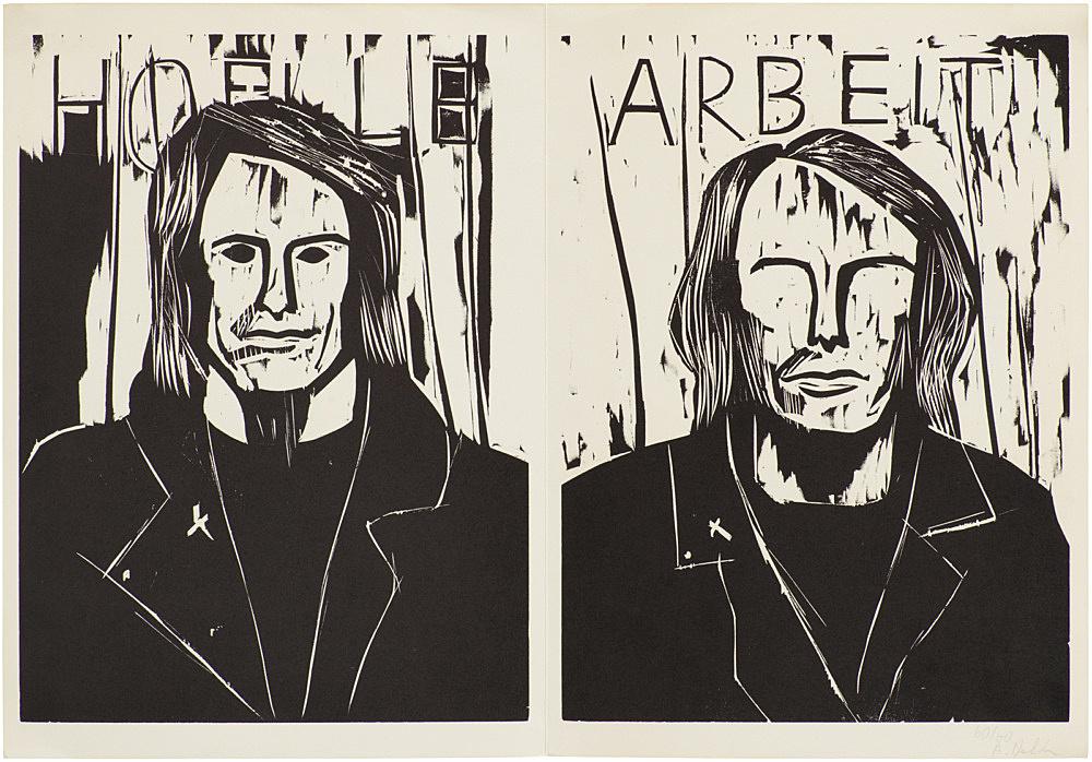 "Albert Oehlen – ""Hölle Arbeit"", 1985 woodcut on paper 44 x 63.5 cm text by Rainald Goetz"