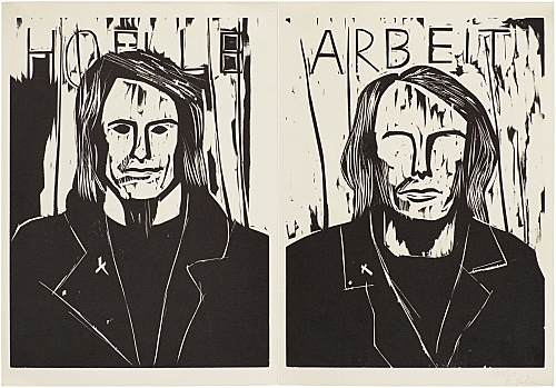 "Albert Oehlen – ""Hölle Arbeit"", 1985 woodcut on paper 44 x 63.5 cm text by Rainald Goetz"