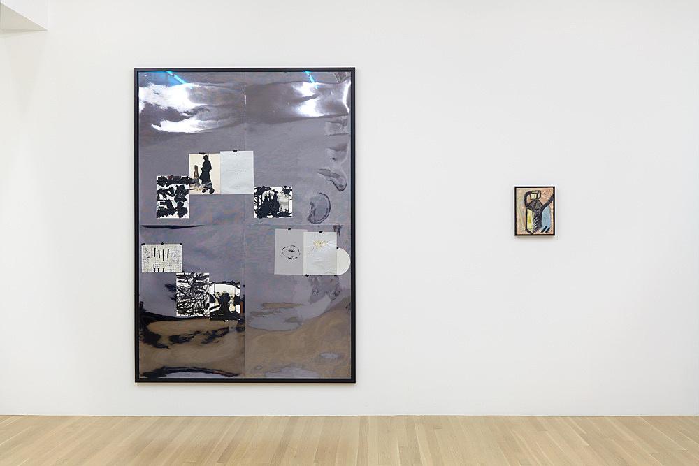 "Jutta Koether – ""Mein Herz heißt Dennoch"", 1998 10 works on paper (mixed media), masking tape, mirror foil 200 x 140 cm & ""Bonehouse of Flesh Blood Heart and Remain"", 1983 oil on canvas 30 x 24 cm (framed: 32 x 26 cm)"