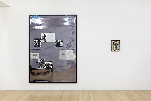 "Jutta Koether – ""Mein Herz heißt Dennoch"", 1998 10 works on paper (mixed media), masking tape, mirror foil 200 x 140 cm & ""Bonehouse of Flesh Blood Heart and Remain"", 1983 oil on canvas 30 x 24 cm (framed: 32 x 26 cm)"