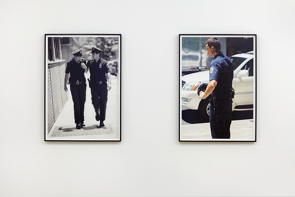 "Heji Shin – ""Model Cop (II)"", 2017 archival pigment print 90 x 64 cm (framed: 95 x 69 cm) & ""First Responders"", 2017 archival pigment print 90 x 64 cm (framed: 95 x 69 cm) installation view Galerie Buchholz, New York 2018"