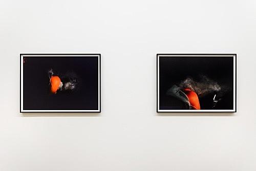 "Heji Shin – ""Fart zur Hölle (I)"", 2017 archival pigment print 57 x 80 cm (framed: 62 x 85 cm) & ""Fart zur Hölle (II)"", 2017 archival pigment print 57 x 80 cm (framed: 62 x 85 cm) installation view Galerie Buchholz, New York 2018"