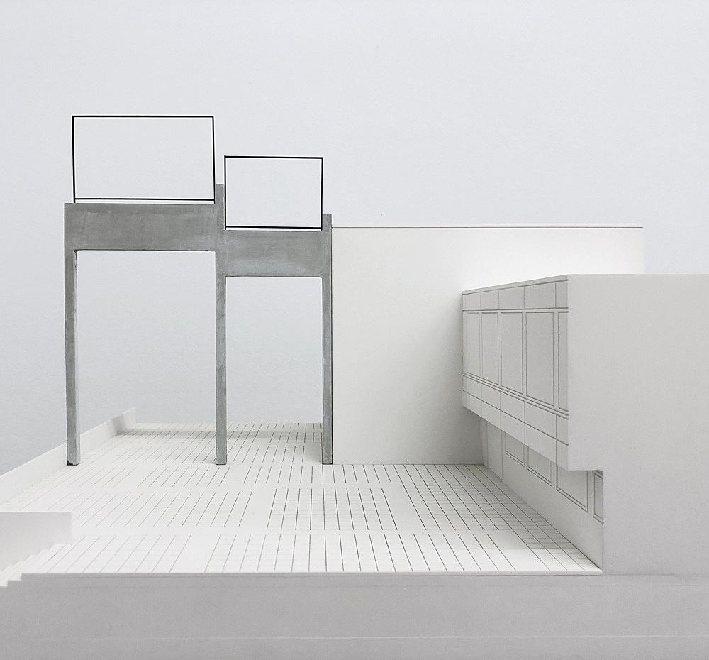 """Isa Genzken – """"ABC"""", 1987 Münster, Universitäts- und Landesbibliothek, on the occasion of 'Skulptur Projekte in Münster 1987' (1987-1988) concrete, steel 1485 x 1120 x 40 cm Modell, installation view Galerie Buchholz, Berlin 2018"""