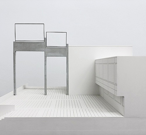 """Isa Genzken – """"ABC"""", 1987 Münster, Universitäts- und Landesbibliothek, on the occasion of 'Skulptur Projekte in Münster 1987' (1987-1988) Modell, installation view Galerie Buchholz, Berlin 2018"""