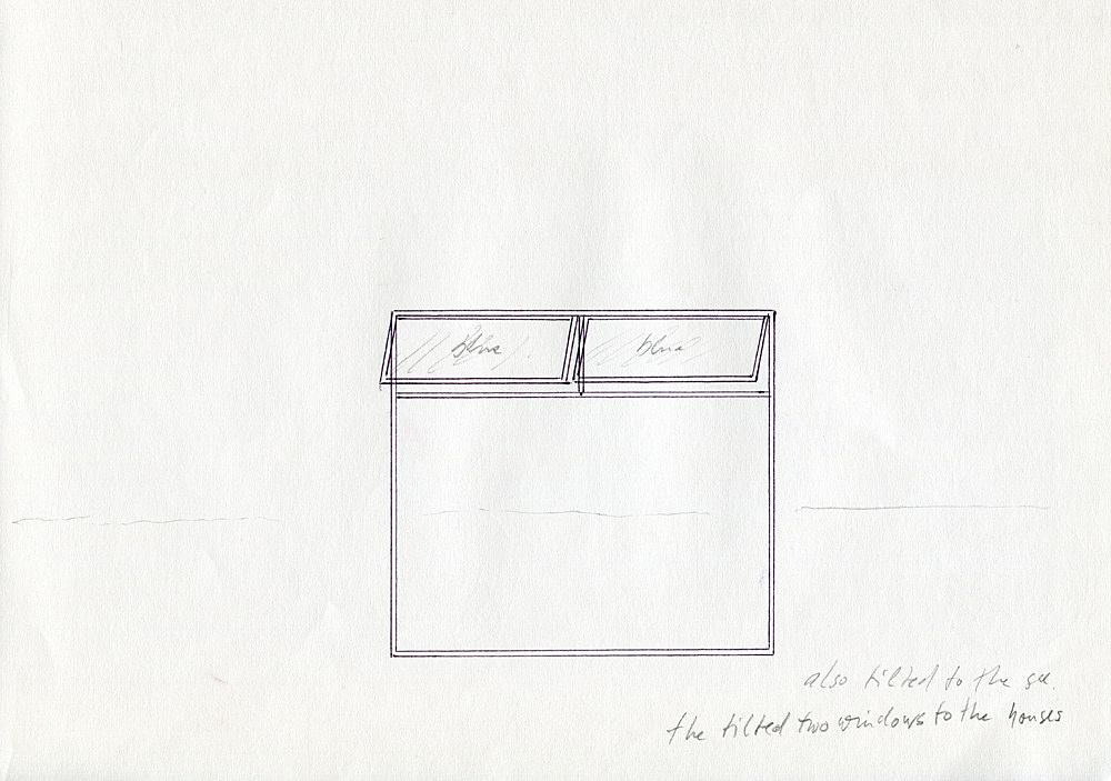 "Isa Genzken – ""Atelierfenster"", 1999 Project for Almere, on the occasion of 'Eingeladen / Uitgenodigd' at the Almeers Centrum Hedendaagse Kunst, De Paviljoens, Almere drawing/note Isa Genzken"