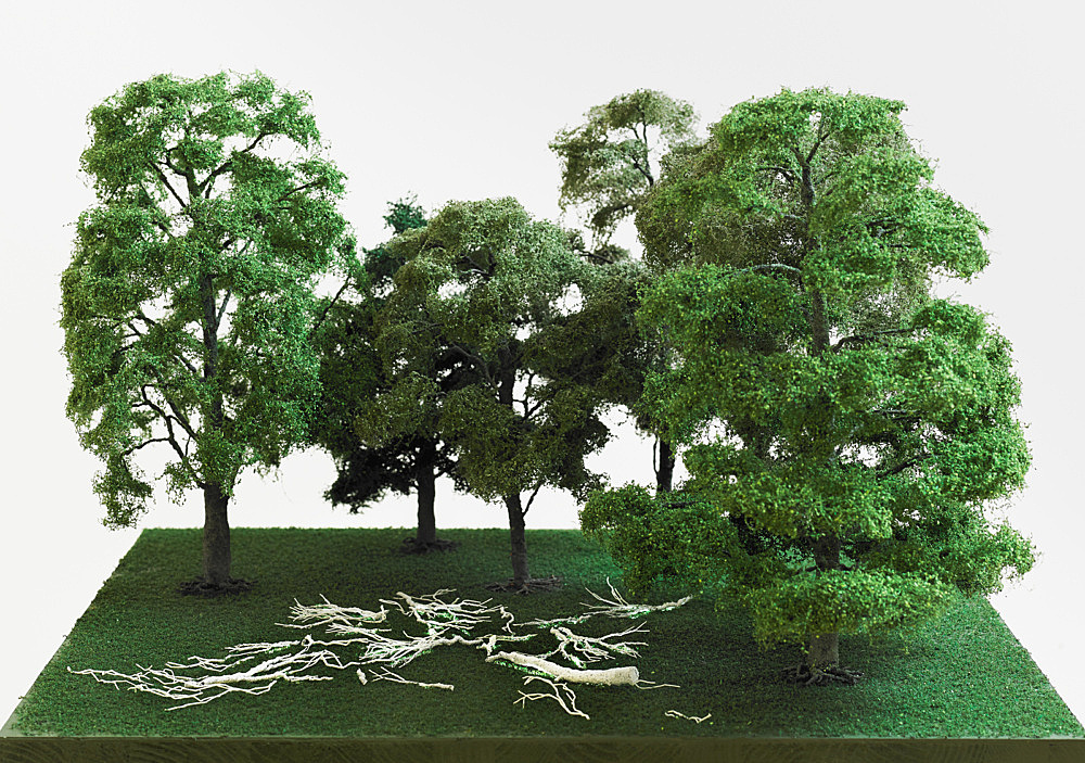 """Isa Genzken – """"Lighted Branches"""", 2004 Braunschweig, on the occasion of 'Braunschweig Parcours' branches, phosphorescent lacquer Model, installation view Galerie Buchholz, Berlin 2018"""