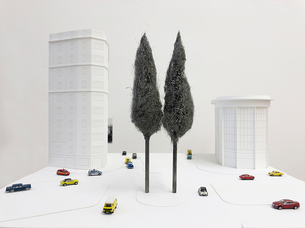 """Isa Genzken – """"Two Trees"""", 1998 Project for Brussels, Place de l'Yser Model, installation view Galerie Buchholz, Berlin 2018"""