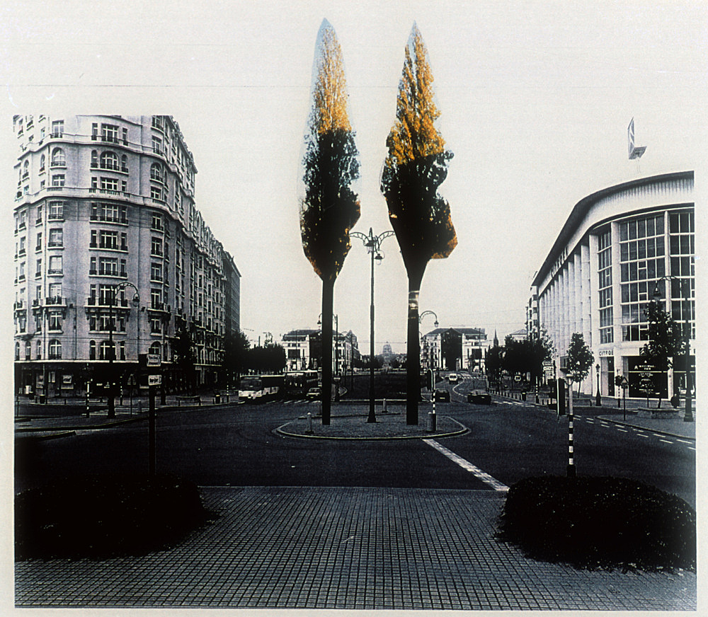 """Isa Genzken – """"Two Trees"""", 1998 Project for Brussels, Place de l'Yser collage Isa Genzken"""