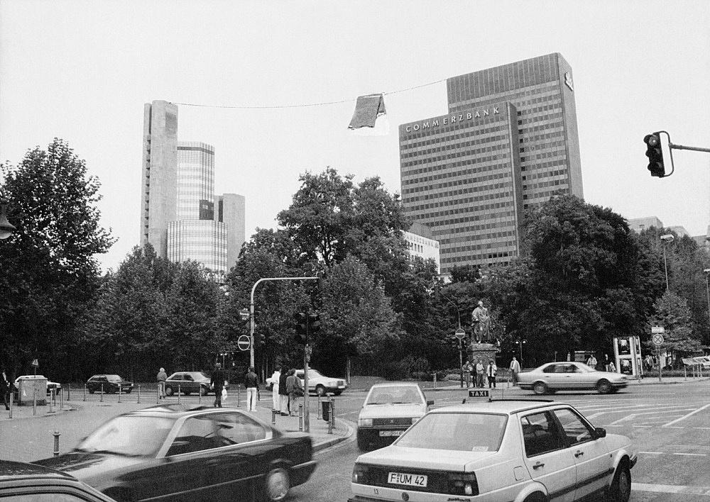 """Isa Genzken – """"Wäscheleine für Frankfurt"""", 1991 Project for Frankfurt, between two skyscrapers, contribution to the publication 'Der Öffentliche Blick' photograph/collage Isa Genzken"""