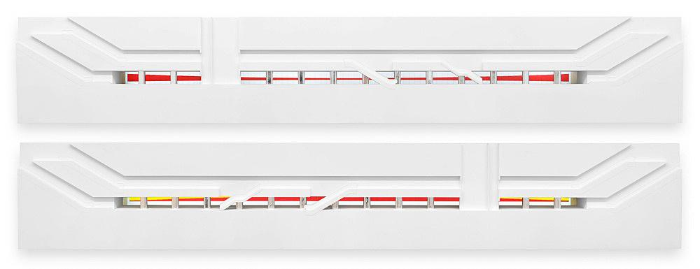"""Isa Genzken/Gerhard Richter – """"U-Bahnhof Duisburg"""", 1992 Duisburg, König-Heinrich-Platz Subway Station (since 1992) Isa Genzken """"Bildnerische Textgestaltung"""" enamel on steel wall panels 3100 x 268 cm Model, installation view Galerie Buchholz, Berlin 2018"""