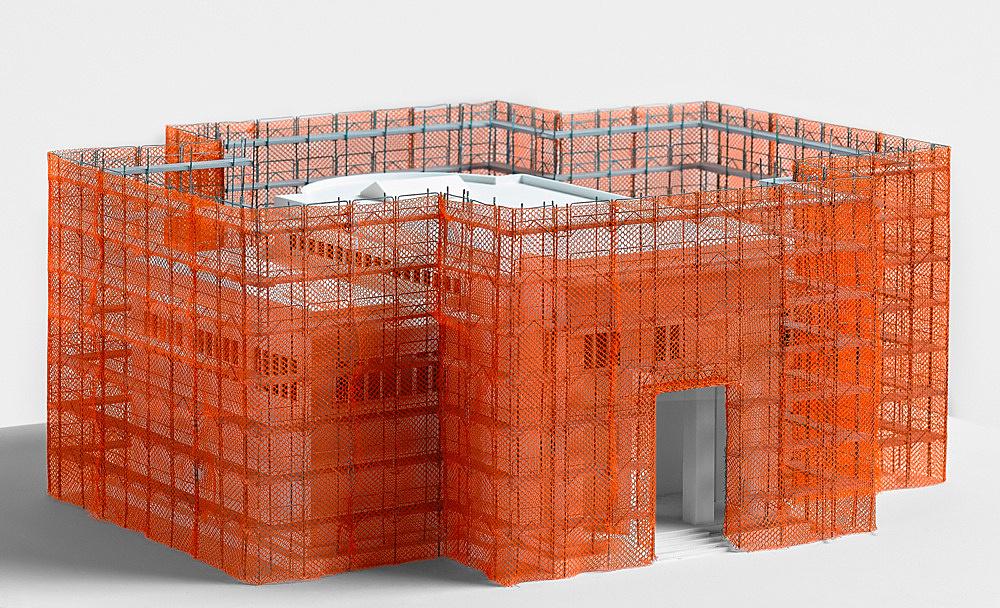 "Isa Genzken – ""OIL"", 2007 52st Venice Biennial, German Pavilion scaffold, construction site net, six painted plaster reliefs Model, installation view Galerie Buchholz, Berlin 2018"