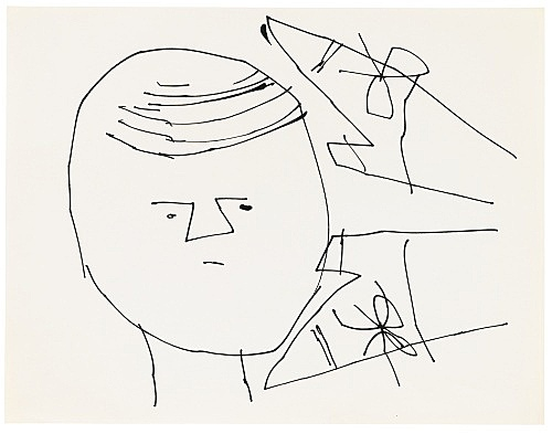 "Andy Warhol – ""Sprite Portrait with Shoes"", ca. 1953 ink on paper 27.8 x 21.5 cm"