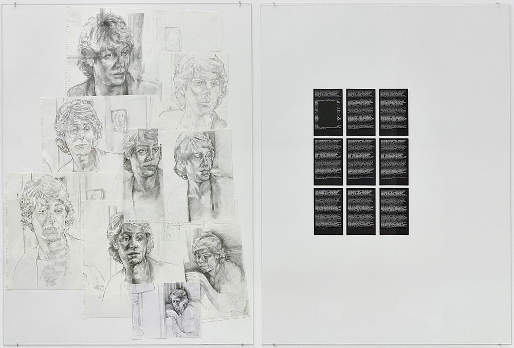 """Danica Barboza – """"Subject M., Interposition: November study, Patrick Kcram series A"""", 2018-2019 9 parts, graphite on paper, tape, glass drawing overall 129 x 97 cm glass 133 x 100 cm & """"Subject M., Interposition: November study, Patrick Kcram series B"""", 2018-2019 9 parts, offset print, collage each part 17.8 x 12.7 cm, overall 57 x 37.8 cm glass 133 x 100 cm"""